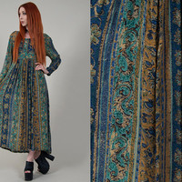 vintage 70s dress vintage 1970s indian gauze bohemian ethnic printed dress vintage boho hippie peasant dress