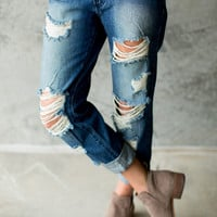 Ripped and Destroyed Boyfriend Jeans