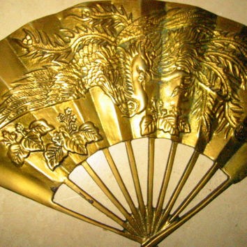 Brass Dragon Phoenix Decorated Chinese Fan