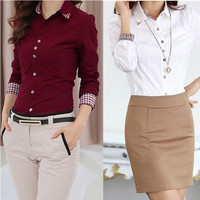 Woman Blouses Plaid Cuff Diamonds Collar Blusas for Women Ladies Shirt Femininas Camisas Female Tops S M L XL = 1696958916