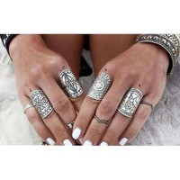 4PCS New Bohemia Vintage Unique Carving Tibetan Silver Plated Ring Set for Women Boho Beach Jewelry