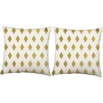 Metallic Gold Diamonds Throw Pillows
