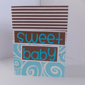 """Congratulations! - """"Sweet Baby"""" - New Baby Boy Handmade Greeting Card - Baby Shower - Blue and Brown - Pregnancy"""