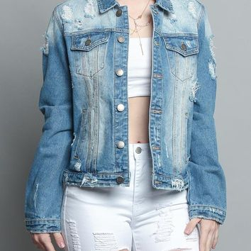 Distressed Denim Jacket RJK743 - H2G