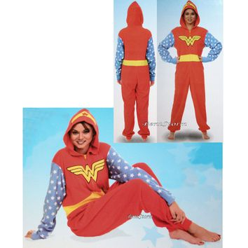 Licensed cool DC  WONDER WOMAN ADULT 1PC Costume PJS Fleece Hooded NON Footed Pajamas