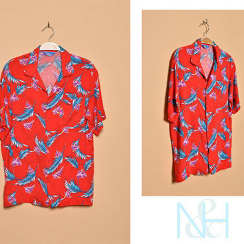 Vintage 1980s Red Hawaiian Button-Up with Short Sleeves