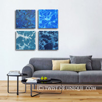ORIGINAL minimalist Abstract Painting / 4 square panel ( 15 Inch  x 15 Inch) / Gallery Wall Art / Blue, turquoise, white, black