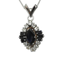 Ready to be shipped Sapphire Pendant Necklace Diamond Pendant Marquise Deep dark Sapphire in 14K White gold cluster Pendant entourage design