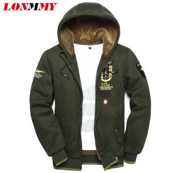 LONMMY 3XL 2016 wool warm winter coats mens hoodies and sweatshirts Cardigan jackets Clothes wear uniform arm tracksuits for men