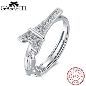 GAGAFEEL Anniversary Couple Ring Sterling Silver Jewelry For Men Paris Tower Opening Rings Clear
