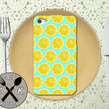 Lemon Slice Pattern Mint Blue Pop Art Inspired Tumblr Cute Custom Rubber Tough Case iPhone 4/4s and iPhone 5/5s/5c and iPhone 6 and 6 Plus +