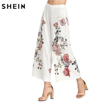 SHEIN Women White Botanical Print Zip Side Wide Leg Pants Ladies Summer Zipper Fly Mid Waist Floral Elegant Long Trousers