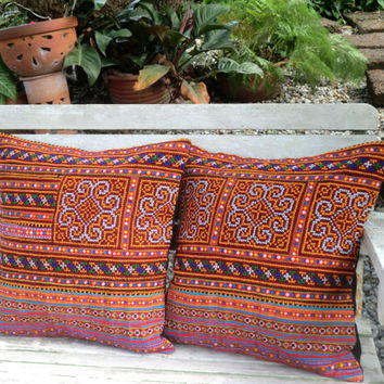 Boho Pillows Embroidered Marigold And Brick Red Hmong Cushion Cover 16 inch