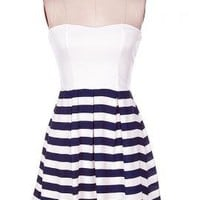 Sailor's Kiss Sweetheart Strapless Solid and Nautical Stripe Dress in Navy/White | Sincerely Sweet Boutique