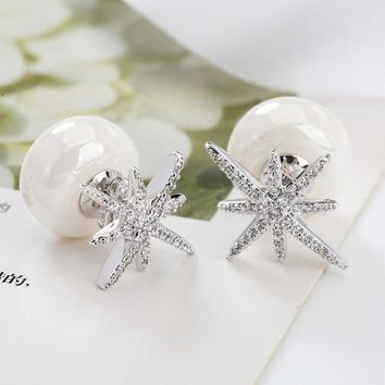 SALE Fashion jewelry 925 silver new crystal from Swarovski Feather high-grade temperament circle anti allergy snowflake earrings