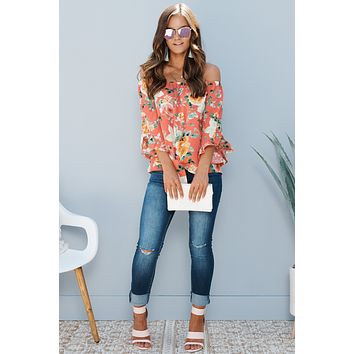 Knot For You Off The Shoulder Top (Coral Combo)