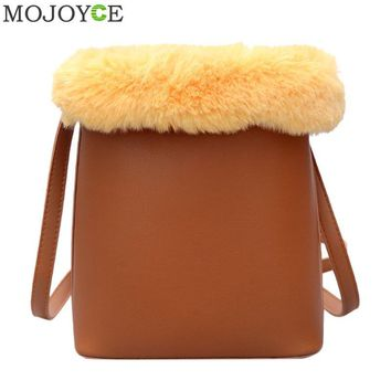 Women PU Leather Shoulder Bag Faux Fur Patchwork Handbags Famous Brand Small Bucket Bag Crossbody Bags for Women Messenger Bags