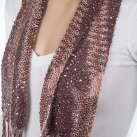 Silk and Mohair Brown Scarf