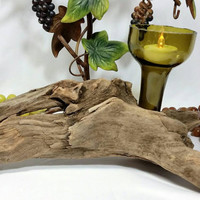 Recycled Wine Bottle Hurricane Driftwood Tealight Candle Holder/Vino Beach Votive Candle Holders/Repurposed Beach Cottage Chic Candle Holder