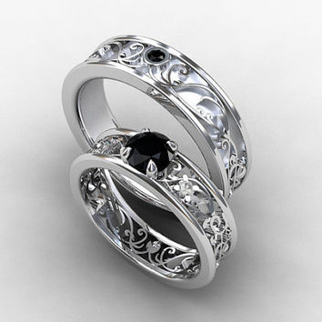 Wedding band set, white gold, Black diamond wedding band, mens diamond ring, filigree, black diamond wedding, gothic,  ring set