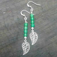 Green leaf earrings. Jade earrings. Leaf earrings. Dangle earrings.
