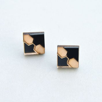 Mini Tile Stud Earrings in Black by Nylon Sky