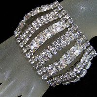 Wide Crystal Rhinestone Bracelet, Vintage Bridal Jewelry, 2 Inches Wide, Silver Tone Setting, Special Occasion, Mid Century Era 615