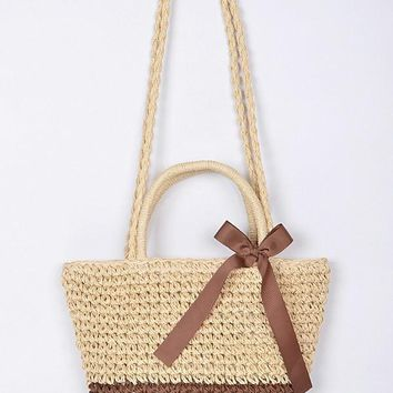 Lady Like Straw Clutch With Ribbon Detail