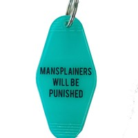 Mansplainers Will Be Punished Motel Style Keychain in Translucent Blue