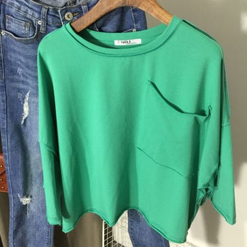 Drop Shoulder  Cropped  Loose Cropped Top With Single Chest Pocket