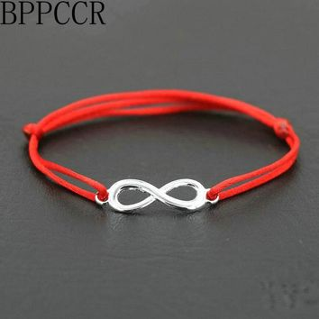 BPPCCR Top Digital 8 Chakra Infinity Braid Female Women Bracelets Lucky Lovers Black Red String Rope Thread Pulseira Masculina