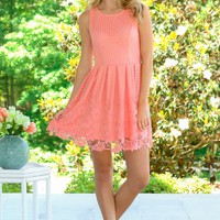 Dreaming In Daylilies Dress-Coral