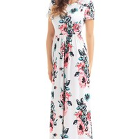 Pockets Short Sleeve White Floral Maxi Dress