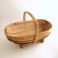 Vintage Garden Trug Wood Basket Sussex England Hand Painted Flowers
