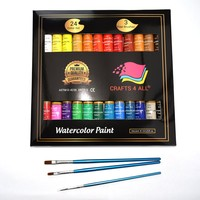 Watercolor Paint Set by Crafts 4 All 24 Premium Quality Art Watercolors Painting Kit for Artists Students & Beginners - Perfect for Landscape and Portrait Paintings on Canvas 12