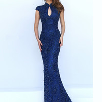 Cap Sleeved Beaded Sherri Hill Formal Prom Gown 50058