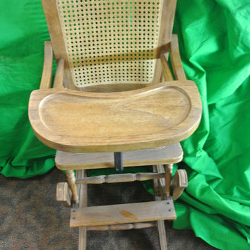 Antique Oak Wood and Wicker High Chair/Child's Rocker  - Needs Slight Repair
