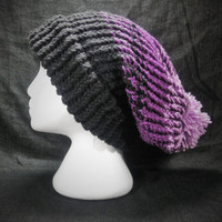 Slouchy Winter Hat with Pompom, Black and Purple, Handmade, Men and Women
