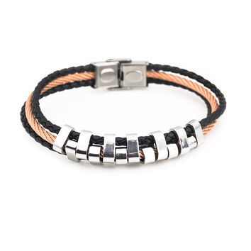 Rose gold and black wire stainless steel bracelet for men and women