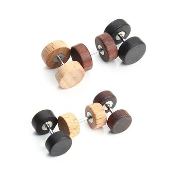 3Pair Fashion Stainless Steel Wood Barbell Screw Stud Earrings Punk Style Double Sided Ear