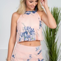 Summer Floral Pink Crop Top