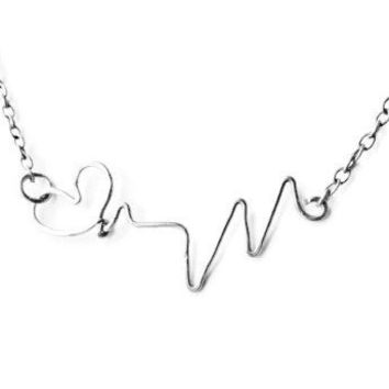 Sterling Silver Heartbeat Necklace, Gift for Her, Gift for Mom, Valentines Gift, Nurse Jewelry, Love Necklace