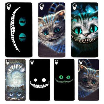 Alice in Wonderland Cheshire Cat White Phone Case Cover for Sony Xperia Z1 Z2 Z3 Z4 Z5 M4 Aqua C4 XA XZ E4 E5 L36H