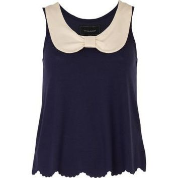 navy bow collar top - sleeveless tops - tops - women - River Island