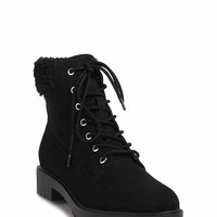 Faux Shearling Trim Ankle Boots