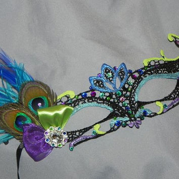 Soft Lace Black Masquerade Mask with Peacock Feathers, Peacock Colored Stones and Teal, Purple, Lime and Blue Accents