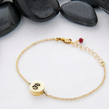 OM Charm Bracelet Made from Eco-Friendly Reclaimed Metal, Gold Tone