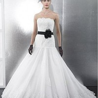 Buy discount   Glamorous Satin & Organza  & Tulle A-line Strapless Neckline Wedding Dress With Handmade Flower and Beads at dressilyme.com