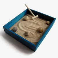 Teal Decor Gift Ideas for Friends Mini Zen Garden - Teal Desk Accessories Gift for Her Desk Gifts - Beach Decor Sand Mental Health Anxiety