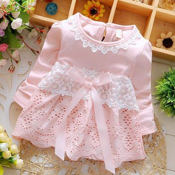 Sweet Baby Lace Crochet Long Sleeve Bow knot Summer dress for girls Cotton Hollow out little flower Dresses vestido infantil Y0